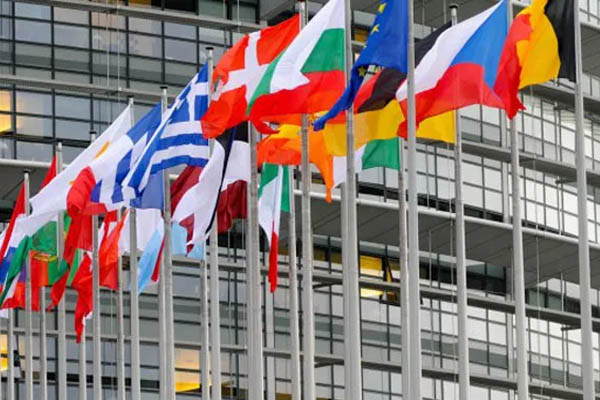 Flags of the European Union in Brussels